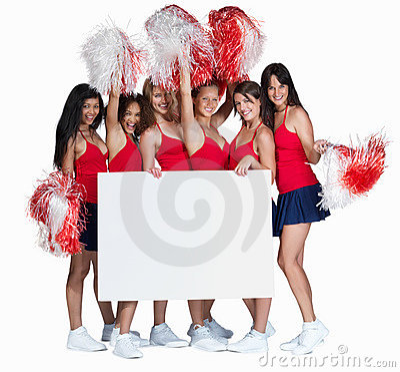 Young cheerleaders holding a blank billboard