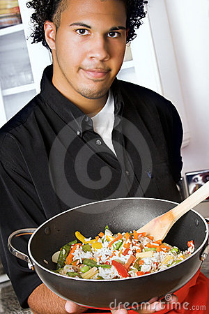 Free Young Chef With Wok Royalty Free Stock Images - 3787559