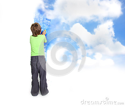 Young child boy painting blue sky over white