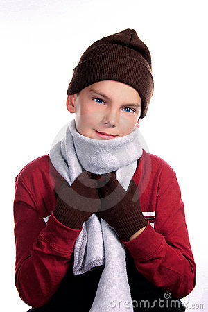 Young Child Bundled Up in Warm Winter Clothing