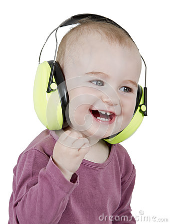 Young child with ear protection
