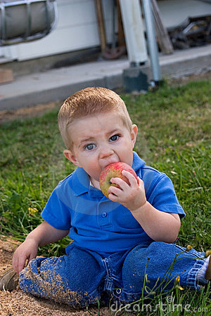 Young child eating apple