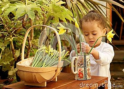 Young child flower arranger