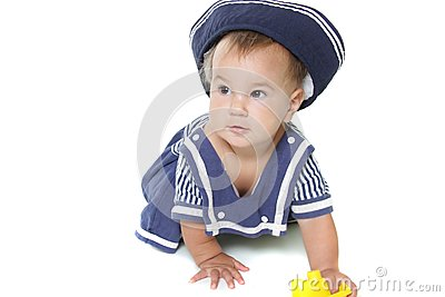 Young child girl dressed as sailor