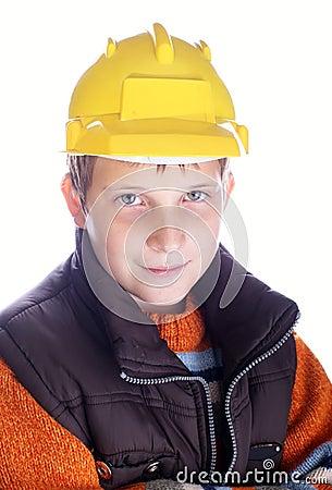 Young child in helmet