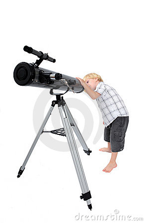 Free Young Child Or Boy Looking Through A Telescope Royalty Free Stock Photo - 1455895