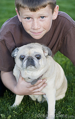 Young child with pug