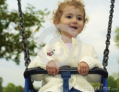 Young child on a swing