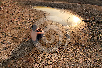 Young child and Water Crisis