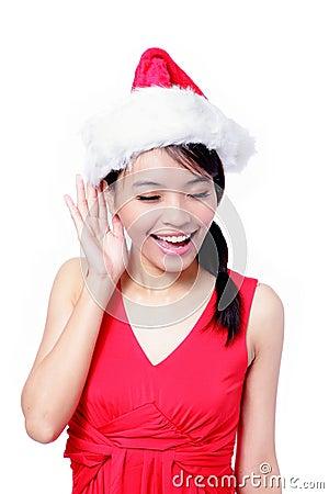 Young Christmas Girl listening