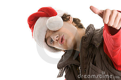 Young christmas man with thumbs up
