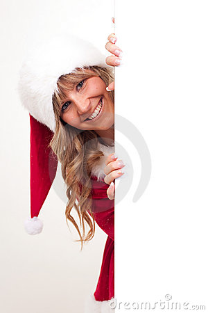 Young Christmas Woman on a copyspace label