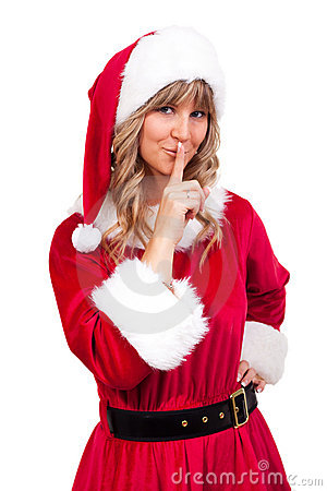 Young Christmas Woman is doing shh