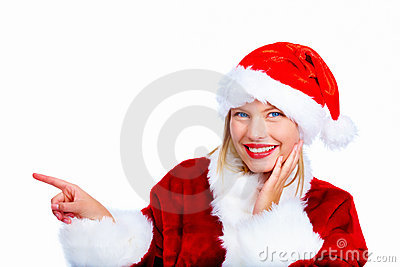 Young christmas woman pointing at copyspace