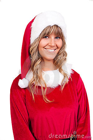 Young Christmas Woman is smiling