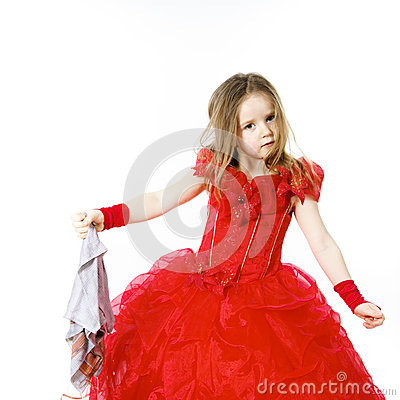 Free Young Cinderella Dressed In Red With Dirty Cloth Royalty Free Stock Photo - 49462825