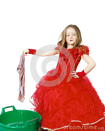 Free Young Cinderella Dressed In Red With Dirty Cloth Royalty Free Stock Image - 49462836