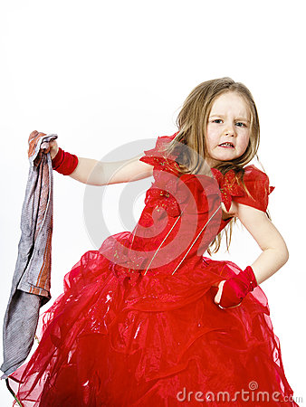 Free Young Cinderella Dressed In Red With Dirty Cloth Stock Photos - 49462853