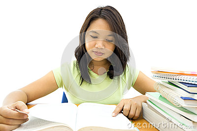 Young college woman reading