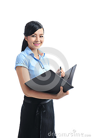 A young confident asian smiling businesswoman open