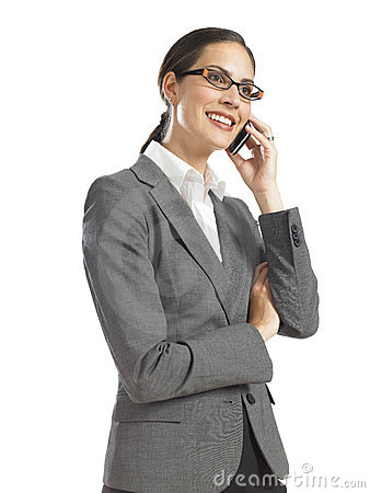 Free Young Confident Business Woman Speaking On Phone Royalty Free Stock Photo - 16807325