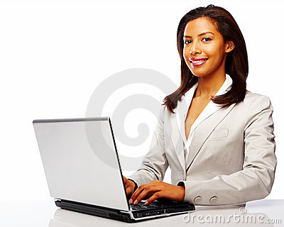 Young confident business woman working