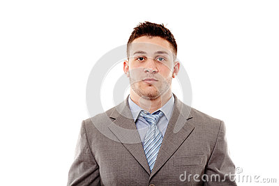 Young confident businessman in studio