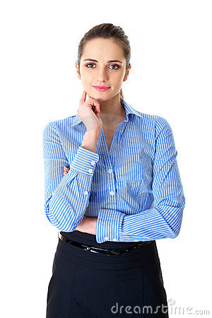 Young confident businesswoman portrait, isolated