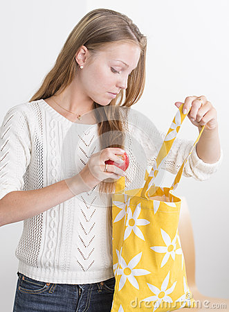 Free Young Confident Woman With Reusable Shopping Bag Stock Photography - 26373062