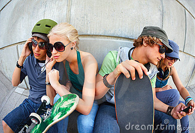 Young cool friends, looking street