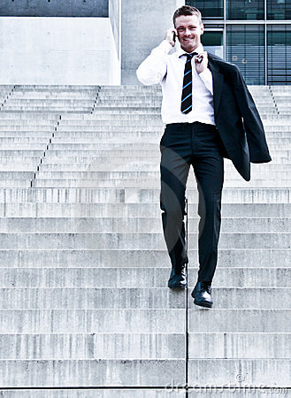 Young Corporate Man On Company Stairs