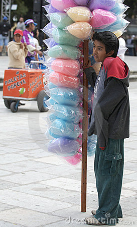 Young Cotton Candy Vendor Editorial Photography