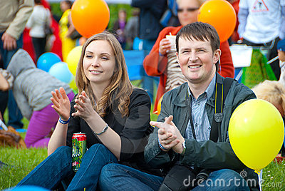 Young couple applauding