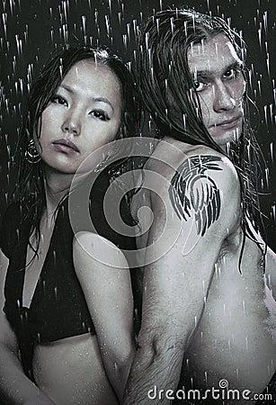 Young couple in aqua studio