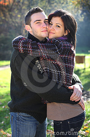 Young couple in autumn outdoor