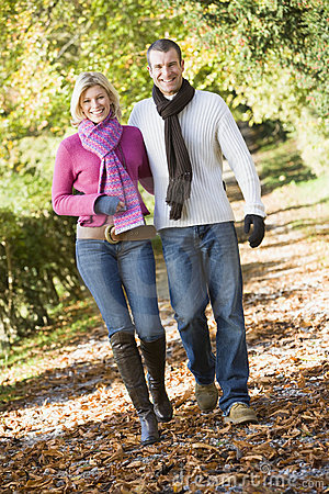 Young couple on autumn walk