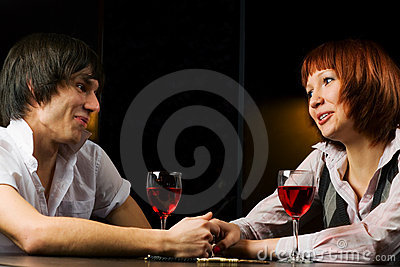 Young couple in a bar.