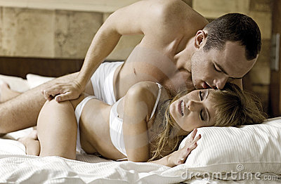 Young couple in bed