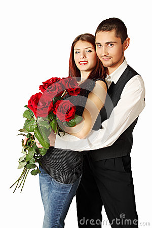 Young couple with bouquet