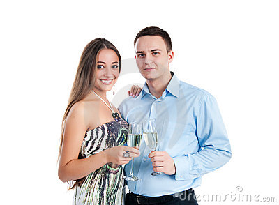Young couple celebrating some occasion