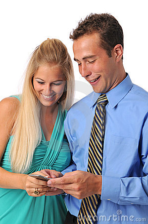 Young couple with cell phone