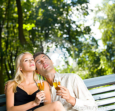 Young couple with champagne