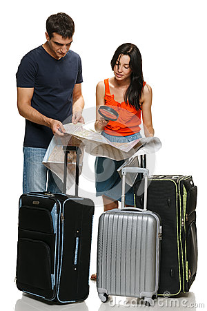 Young couple choosing travel destination
