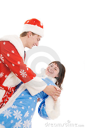 Young couple  in christmas costumes