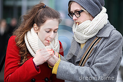 Young Couple With Cigarettes Stock Photography - Image: 29526262