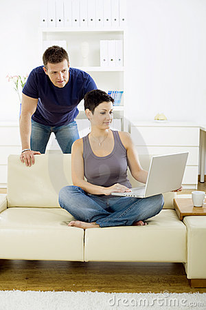 Young couple with computer