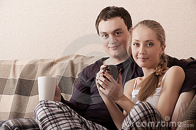 Young couple on a couch