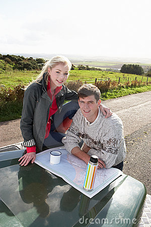 Young couple on country drive