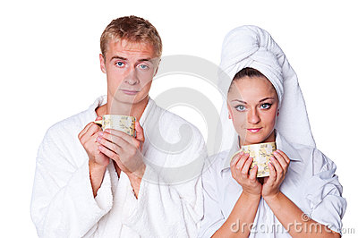 Young couple with cup of tea
