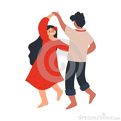 Young couple dancing barefoot. Lovers boyfriend and girlfriend. characters isolated on white background. Vector illustration in Vector Illustration